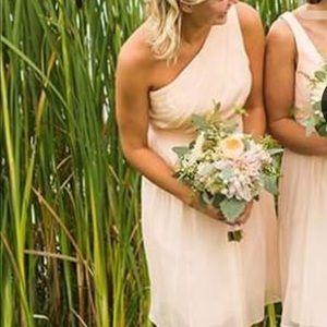 J. Crew silk chiffon soft peach bridesmaid dress